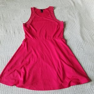 H&M Pink Fit and Flare Tank Dress with Lace Detail